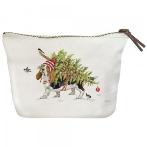 Basset with Tree Canvas Pouch