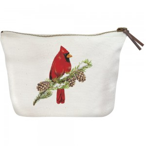 Cardinal On Pine Canvas Pouch