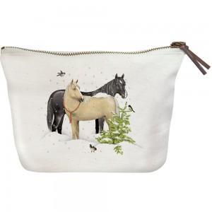 Snow Horses Canvas Pouch