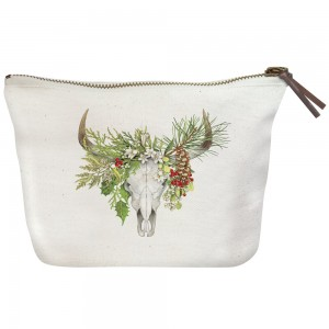 Holiday Cow Skull Canvas Pouch