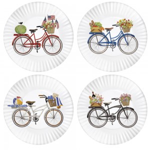 Bike Melamine Plates Set Of 4