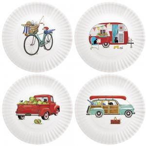 Summer Camping Melamine Plates S/4
