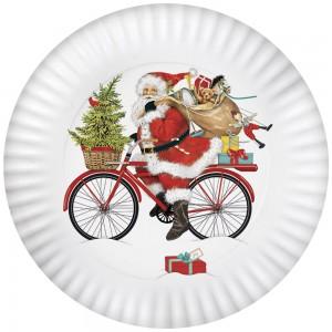 Santa Red Bike Melamine Platter