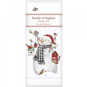 Birdhouse Snowman Linen Napkins