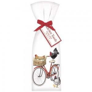Red Bike Rooster Towel Set