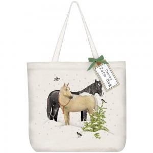 Snow Horses Tote Bag