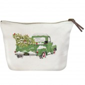 Holiday Green Truck Canvas Pouch