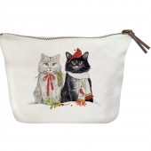 Cats Cardinal & Chickadee Canvas Pouch
