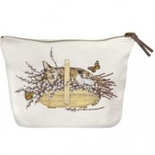 Cat Willow Basket Canvas Pouch