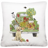 Green Truck Garden Pillow