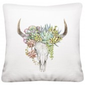 Succulent Cow Skull Pillow