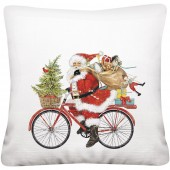 Red Bike Santa Pillow