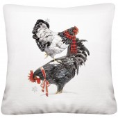 Stacked Winter Chickens Pillow