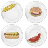 BBQ Picnic Melamine Plates Set Of 4