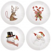 Retro Holiday Appetizer Plates Set Of 4