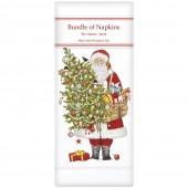 Santa Ornament Tree Linen Napkins