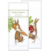 Rabbits with Carrot & Radish Assorted Linen Napkins