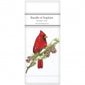 Cardinal On Pine Linen Napkins