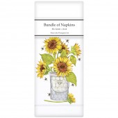 Sunflowers And Bees Linen Napkins