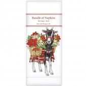 Poinsettia Goat Linen Napkins