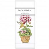 Geranium Hummingbird Pots Linen Napkins