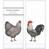 Farmhouse Chickens Linen Napkins