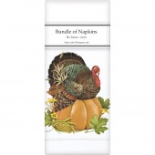 Turkey On Pumpkin Linen Napkins