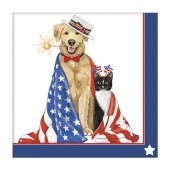 Dog & Cats Flags Paper Napkin