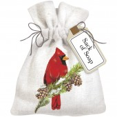 Cardinal On Pine Sack Of Soap