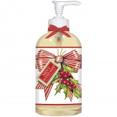 Red Stripe Bow With Holly Liquid Soap