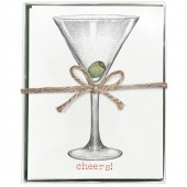 Martini Glass Boxed Greeting Card S/8