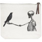 Skeleton Crow Canvas Pouch