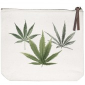 Green Leaf Canvas Pouch