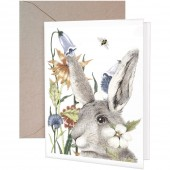 Rabbit Flowers Greeting Card