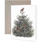 Pine Tree Birds Greeting Cards