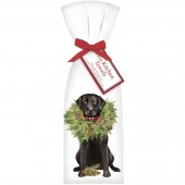 Black Lab With Wreath Towel Set