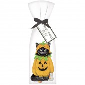 Cat Halloween Pumpkin Towel Set
