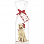 Yellow Lab With Candy Cane Towel Set