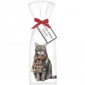 Cat With Burberry Scarf Towel Set