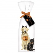 Halloween Yellow Lab With Cat Towel Set