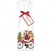 Red Bike Santa Towel Set