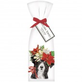 Collie Pointsettia Towel Set