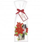 Cat Poinsettia Towel Set