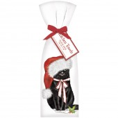 Cat With White Ribbon Towel Set