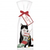 Cat With Stocking Towel Set