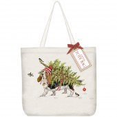 Basset With Tree Tote Bag