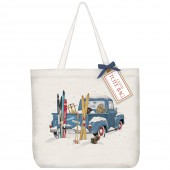 Blue Truck Skis Tote Bag