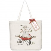 Snowman Wheelbarrow Tote Bag