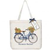 Blue Market Bike Tote Bag
