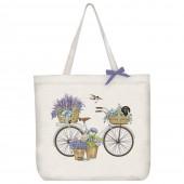 White Bike Dachshund Tote Bag